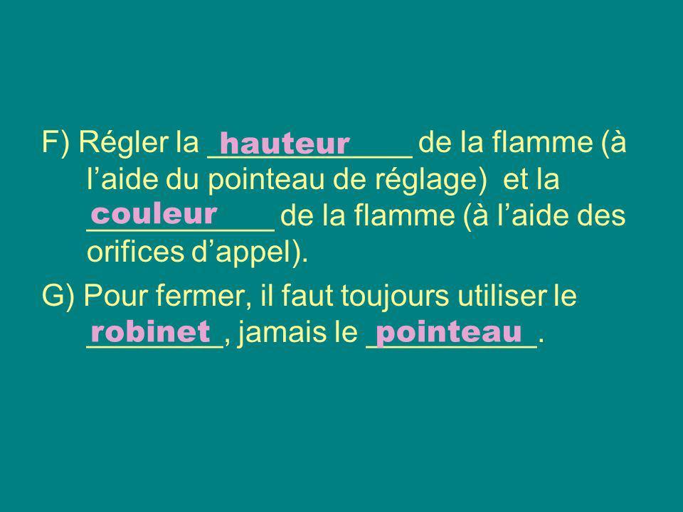 F) Régler la ____________ de la flamme (à laide du pointeau de réglage) et la ___________ de la flamme (à laide des orifices dappel). G) Pour fermer,