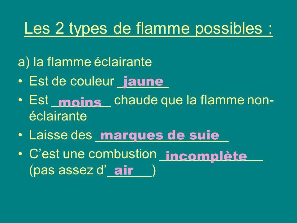 Les 2 types de flamme possibles : b) la flamme non –éclairante Est de couleur ________ ou incolore Sa température est ________________________________ Ne laisse aucun dépôt de suie Cest une combustion ______________ (efficace) bleue plus élevée que la flamme jaune complète