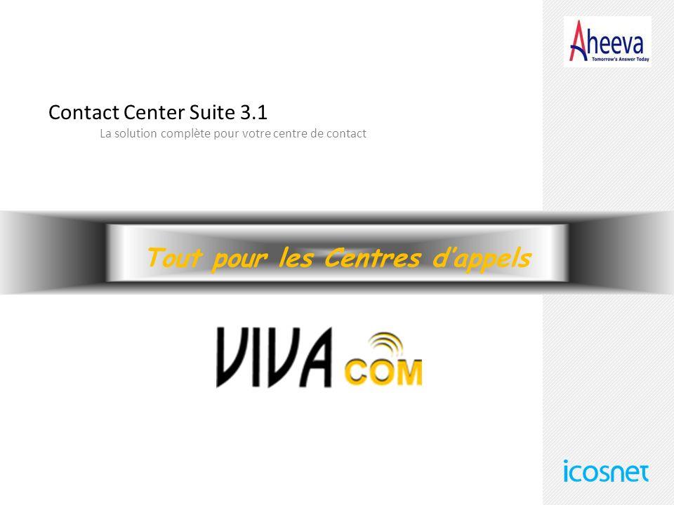 Tout pour les Centres dappels Contact Center Suite 3.1 La solution complète pour votre centre de contact
