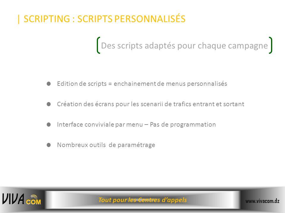 Tout pour les Centres dappels www.vivacom.dz | SCRIPTING : SCRIPTS PERSONNALISÉS Des scripts adaptés pour chaque campagne Edition de scripts = enchain