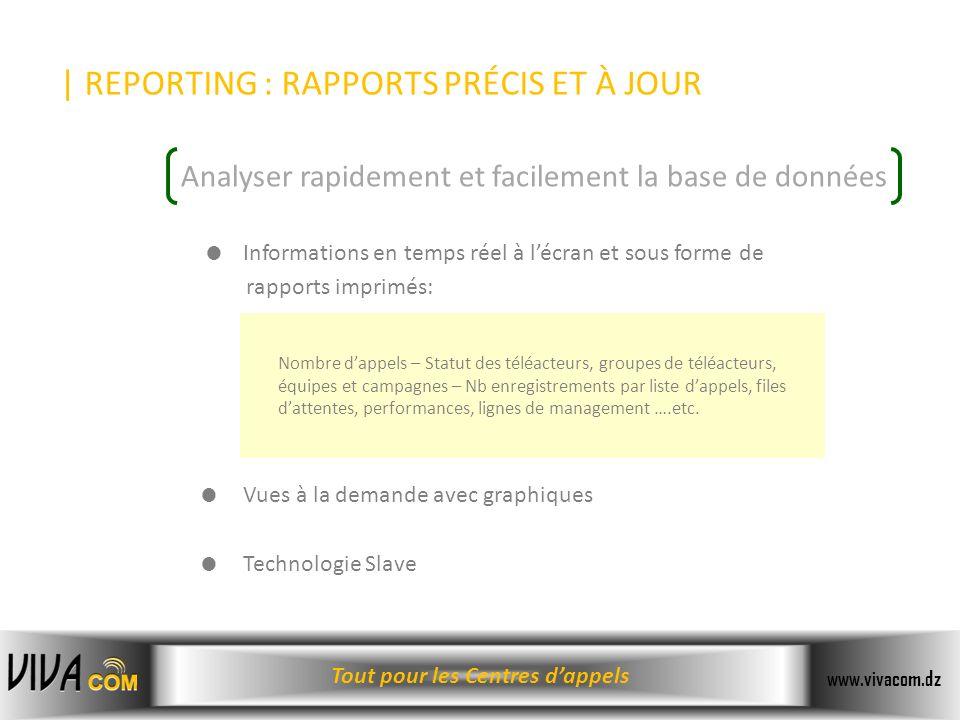 Tout pour les Centres dappels www.vivacom.dz | REPORTING : RAPPORTS PRÉCIS ET À JOUR Informations en temps réel à lécran et sous forme de rapports imp