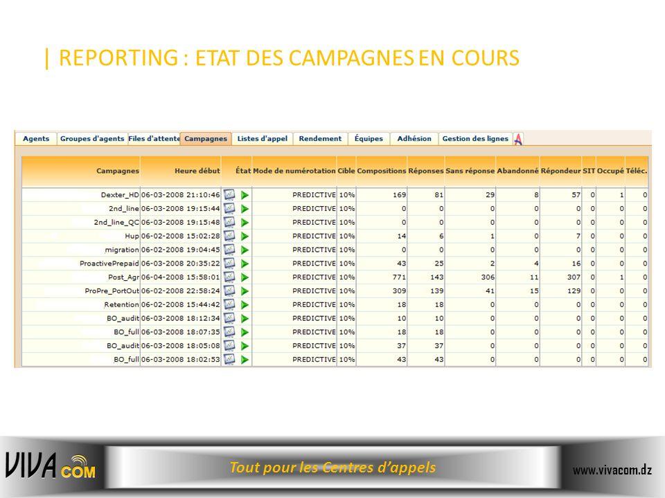 Tout pour les Centres dappels www.vivacom.dz | REPORTING : ETAT DES CAMPAGNES EN COURS