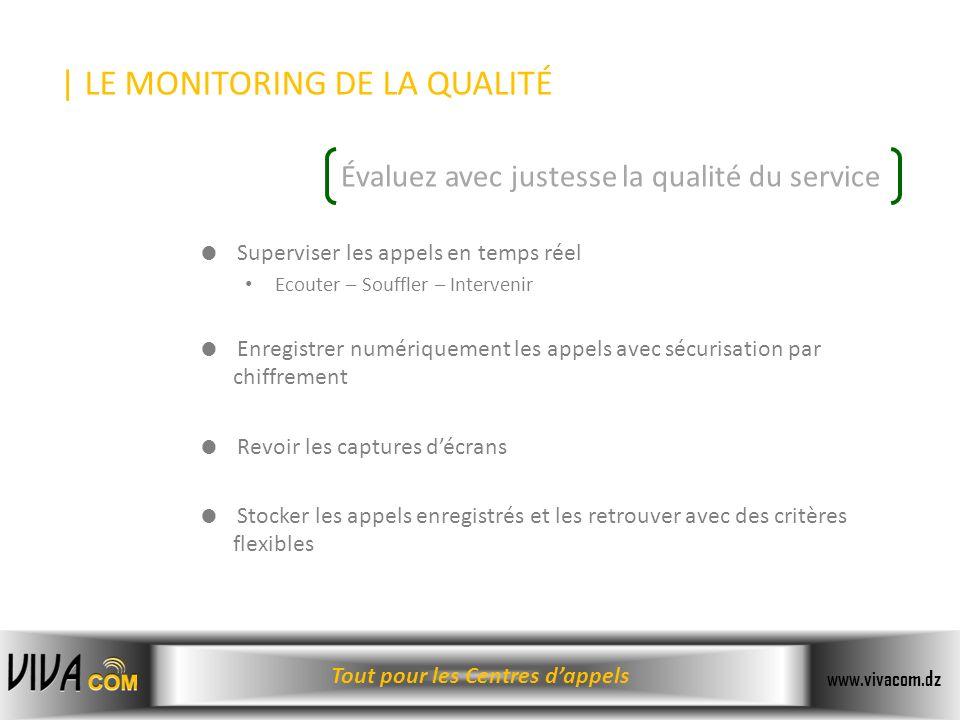 Tout pour les Centres dappels www.vivacom.dz Superviser les appels en temps réel Ecouter – Souffler – Intervenir Enregistrer numériquement les appels