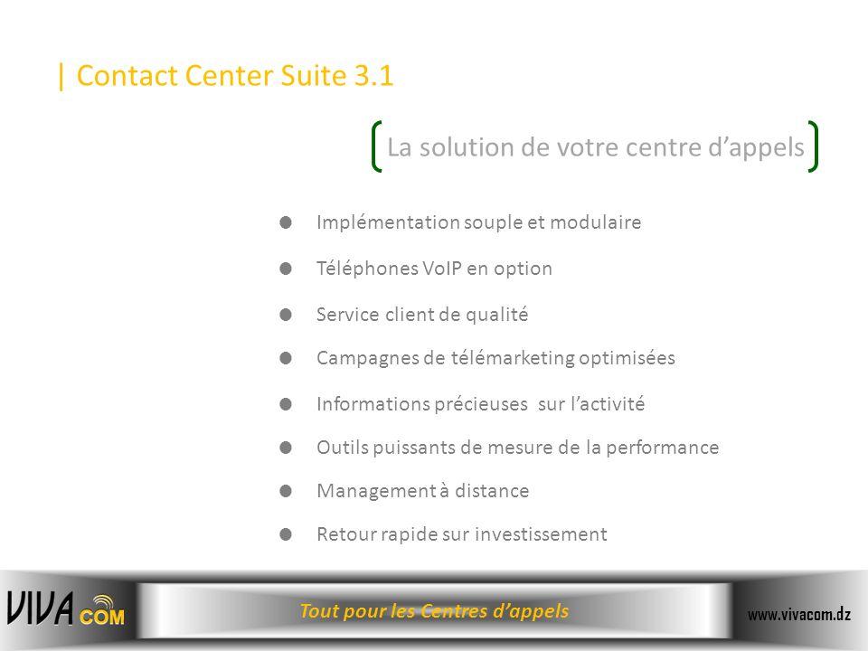 Tout pour les Centres dappels www.vivacom.dz Implémentation souple et modulaire Téléphones VoIP en option Service client de qualité Campagnes de télém