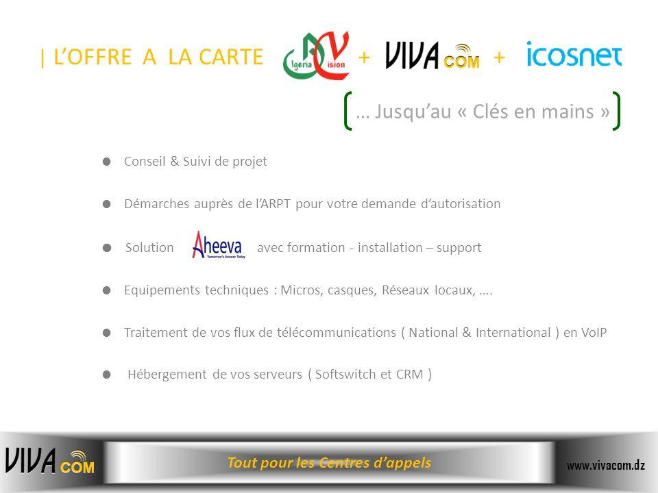 Tout pour les Centres dappels www.vivacom.dz Conseil & Suivi de projet Démarches auprès de lARPT pour votre demande dautorisation Solution avec format