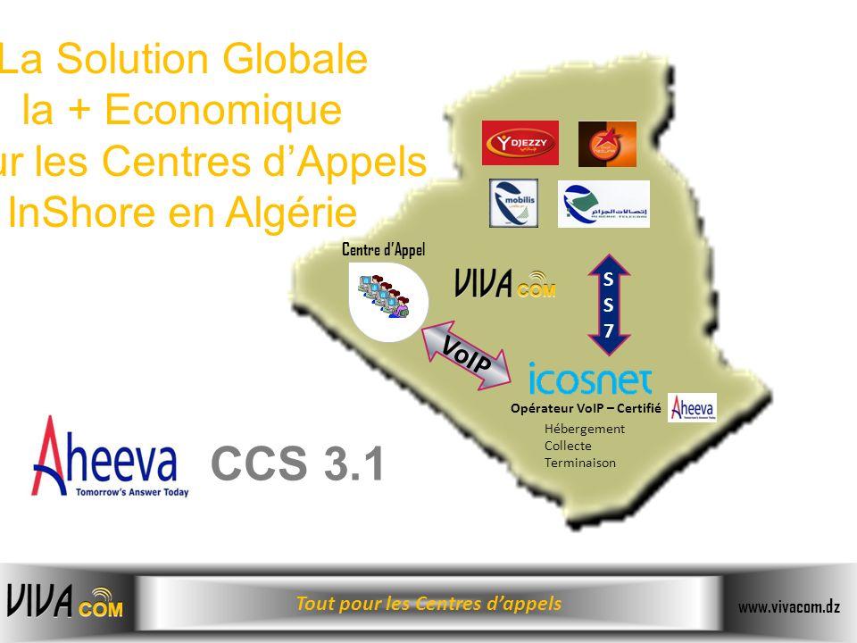 Tout pour les Centres dappels www.vivacom.dz Opérateur VoIP – Certifié VoIP La Solution Globale la + Economique pour les Centres dAppels InShore en Al