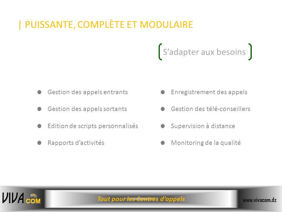 Tout pour les Centres dappels www.vivacom.dz | PUISSANTE, COMPLÈTE ET MODULAIRE Gestion des appels entrants Gestion des appels sortants Edition de scr