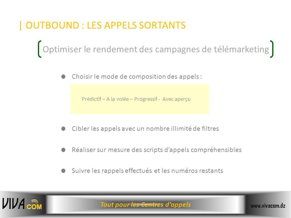 Tout pour les Centres dappels www.vivacom.dz | OUTBOUND : LES APPELS SORTANTS Choisir le mode de composition des appels : Cibler les appels avec un no