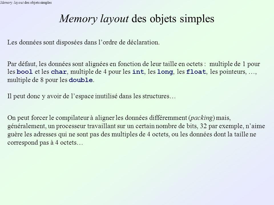 Memory layout des objets simples Les données sont disposées dans lordre de déclaration. Par défaut, les données sont alignées en fonction de leur tail