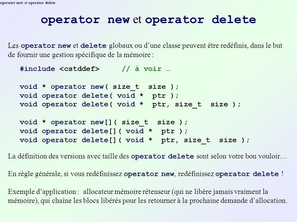 operator new et operator delete..... Les operator new et delete globaux ou dune classe peuvent être redéfinis, dans le but de fournir une gestion spéc