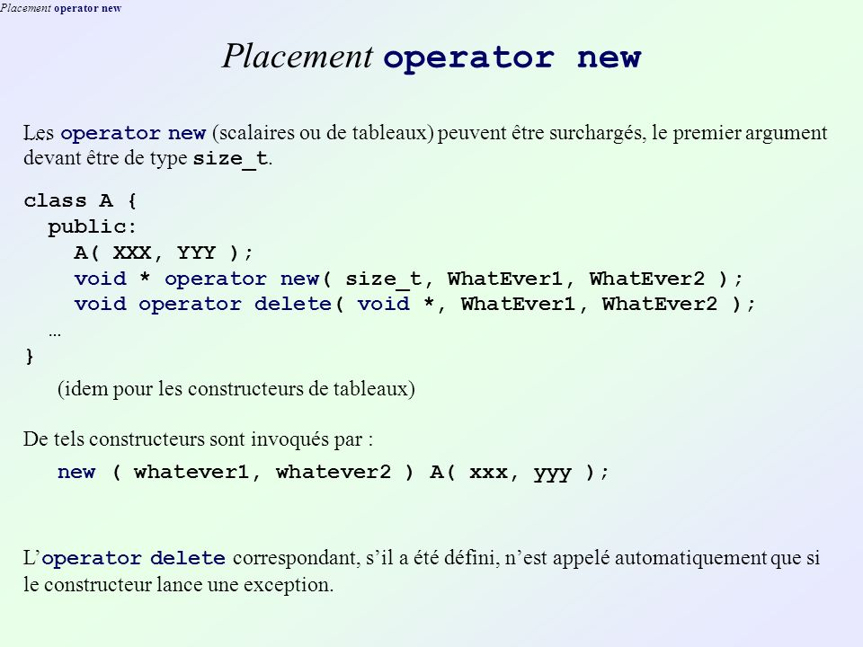Placement operator new.....