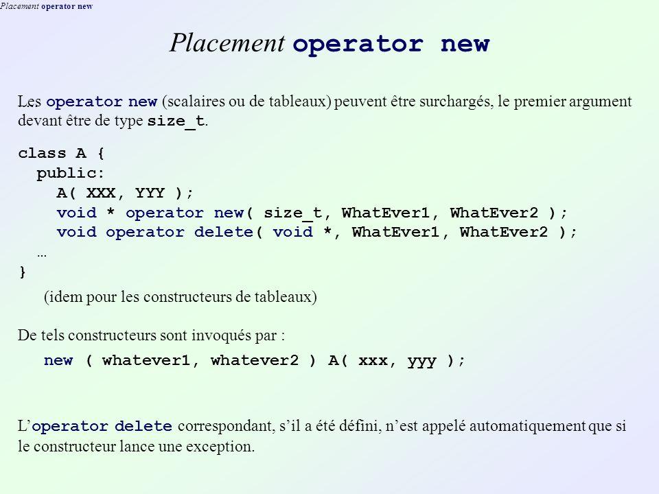Placement operator new..... Les operator new (scalaires ou de tableaux) peuvent être surchargés, le premier argument devant être de type size_t. class