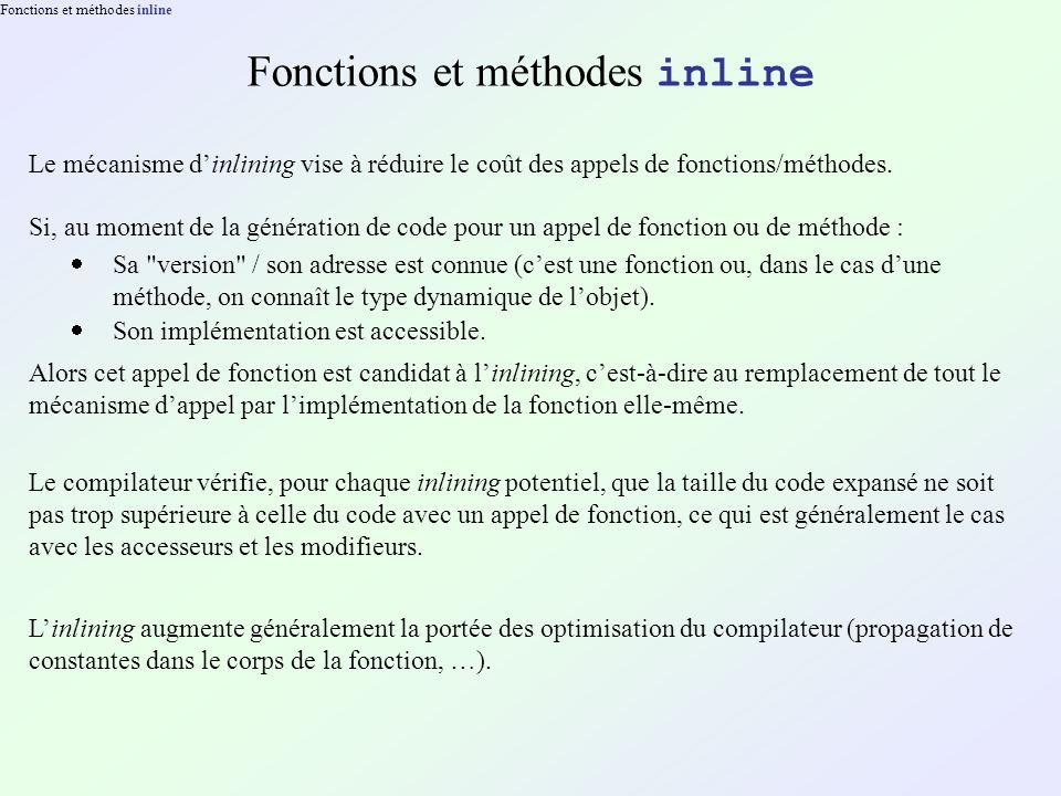 Fonctions et méthodes inline Le mécanisme dinlining vise à réduire le coût des appels de fonctions/méthodes. Si, au moment de la génération de code po