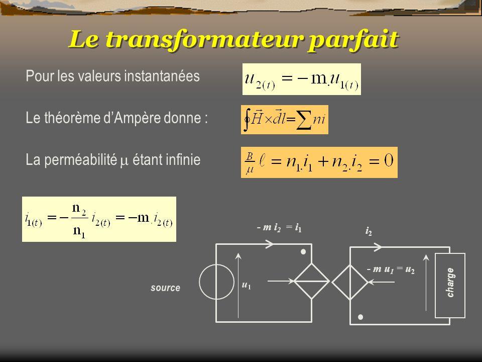 Le transformateur parfait Pour les valeurs instantanées Le théorème dAmpère donne : La perméabilité étant infinie - m u 1 = u 2 i2i2 charge u1u1 - m i