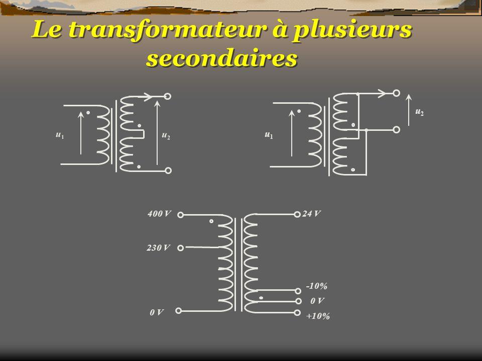 Le transformateur à plusieurs secondaires u1u1 u2u2 u1u1 u2u2 0 V 230 V 400 V24 V 0 V -10% +10%