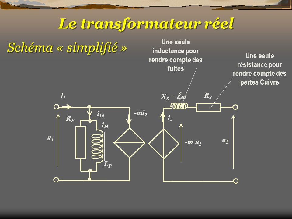 Le transformateur réel u2u2 -m u 1 -mi 2 RFRF i1i1 u1u1 i2i2 X S = l s RSRS Schéma « simplifié » LPLP iMiM i 10 Une seule résistance pour rendre compt