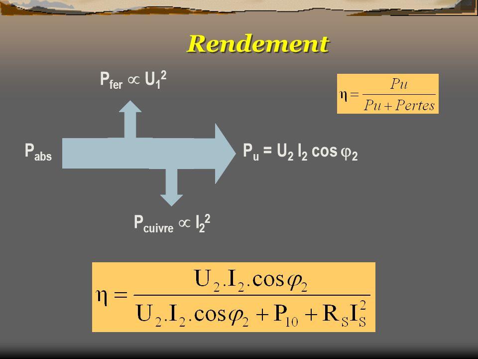P fer U 1 2 P cuivre I 2 2 P u = U 2 I 2 cos 2 P abs Rendement