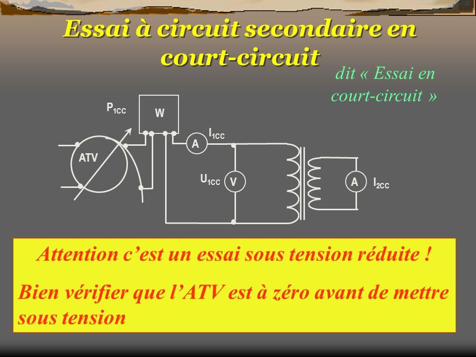 dit « Essai en court-circuit » On mesure : U 1CC, I 1CC, P 1CC On règle : I 2CC à sa valeur nominale avec lATV W A AV P 1CC I 1CC U 1CC I 2CC ATV On c