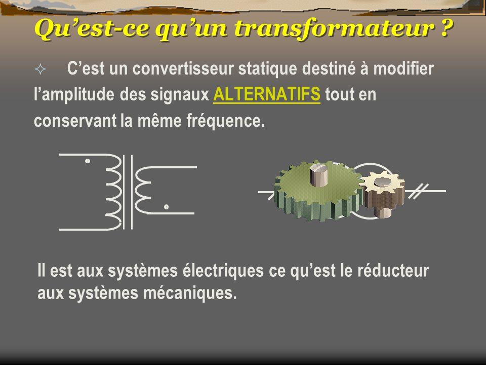 Quest-ce quun transformateur ? Cest un convertisseur statique destiné à modifier lamplitude des signaux ALTERNATIFS tout en conservant la même fréquen