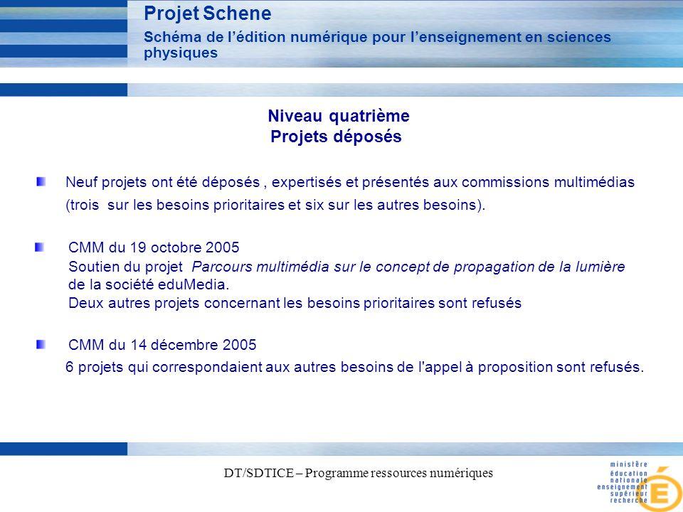 3 DT/SDTICE – Programme ressources numériques Projet Schene Schéma de lédition numérique pour lenseignement en sciences physiques Niveau quatrième Projets déposés Neuf projets ont été déposés, expertisés et présentés aux commissions multimédias (trois sur les besoins prioritaires et six sur les autres besoins).