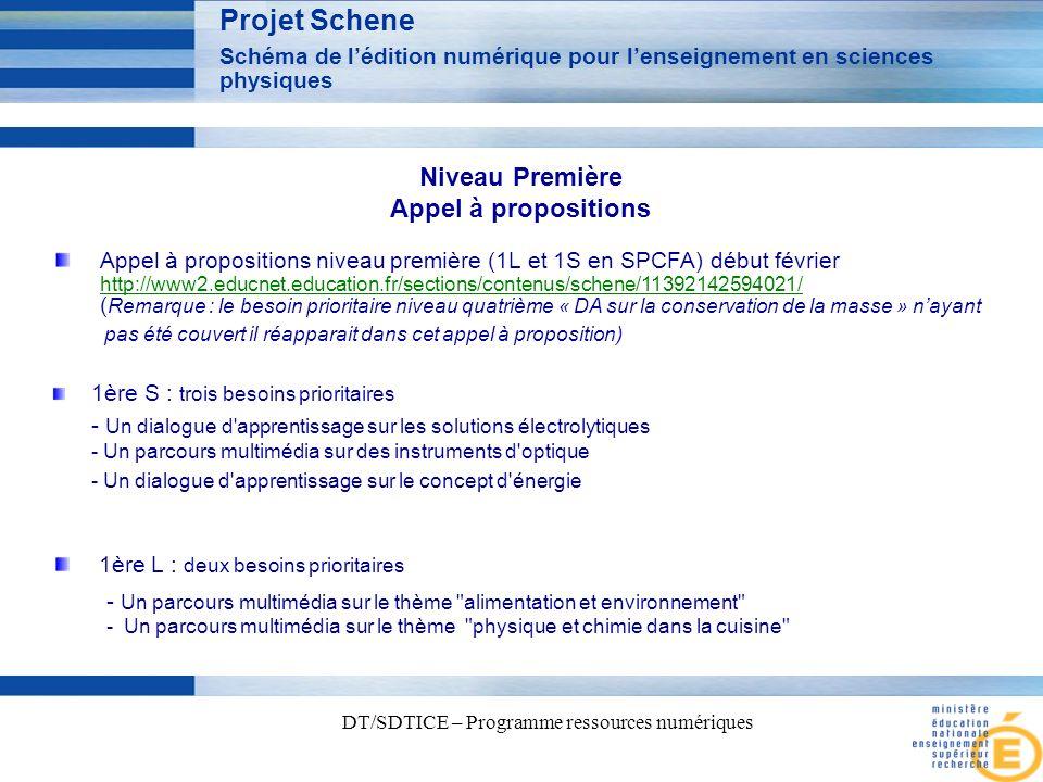 4 DT/SDTICE – Programme ressources numériques Projet Schene Schéma de lédition numérique pour lenseignement en sciences physiques Appel à propositions niveau première (1L et 1S en SPCFA) début février http://www2.educnet.education.fr/sections/contenus/schene/11392142594021/ ( Remarque : le besoin prioritaire niveau quatrième « DA sur la conservation de la masse » nayant http://www2.educnet.education.fr/sections/contenus/schene/11392142594021/ pas été couvert il réapparait dans cet appel à proposition) 1ère L : deux besoins prioritaires - Un parcours multimédia sur le thème alimentation et environnement - Un parcours multimédia sur le thème physique et chimie dans la cuisine 1ère S : trois besoins prioritaires - Un dialogue d apprentissage sur les solutions électrolytiques - Un parcours multimédia sur des instruments d optique - Un dialogue d apprentissage sur le concept d énergie Niveau Première Appel à propositions