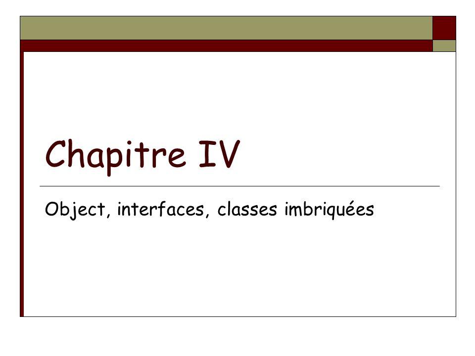Chapitre IV Object, interfaces, classes imbriquées