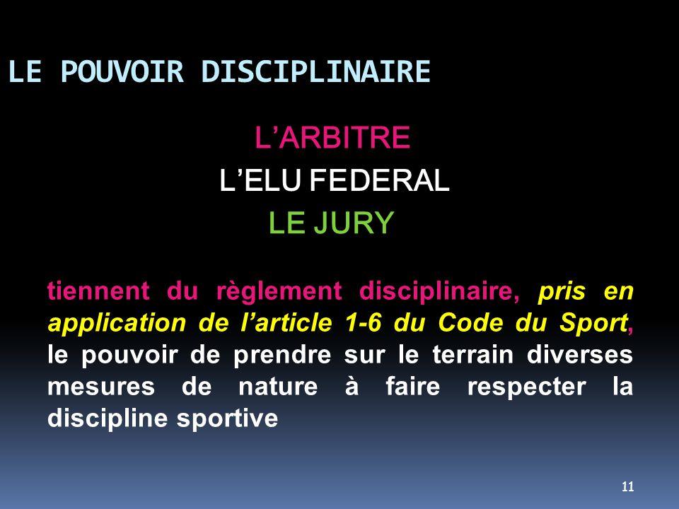 11 LE POUVOIR DISCIPLINAIRE LARBITRE LELU FEDERAL LE JURY tiennent du règlement disciplinaire, pris en application de larticle 1-6 du Code du Sport, l