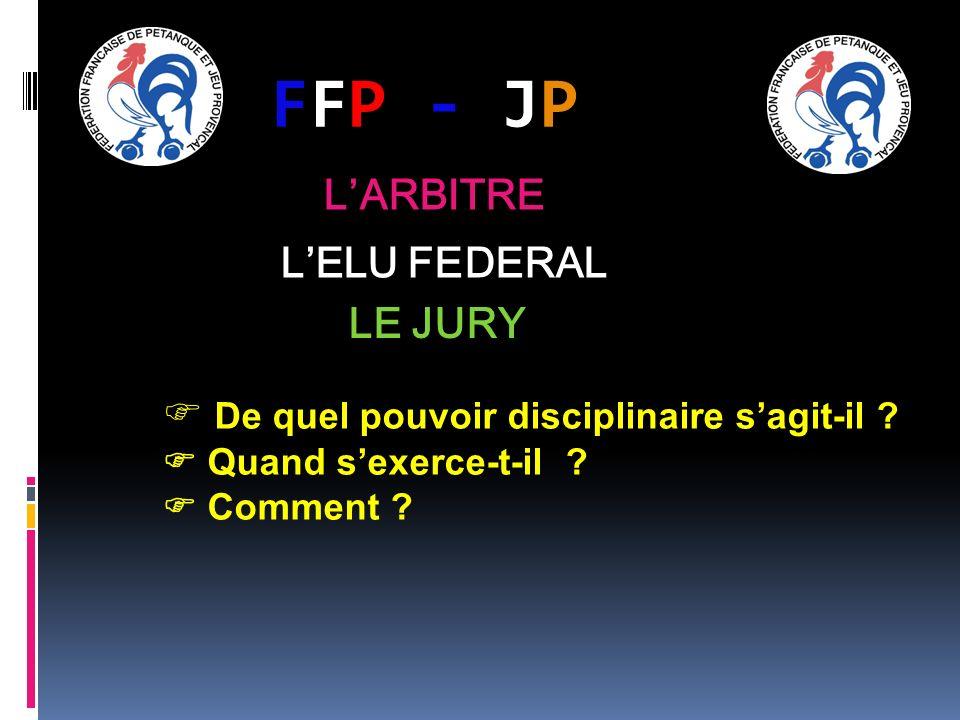 FFP - JPFFP - JP LARBITRE LELU FEDERAL LE JURY De quel pouvoir disciplinaire sagit-il ? Quand sexerce-t-il ? Comment ?