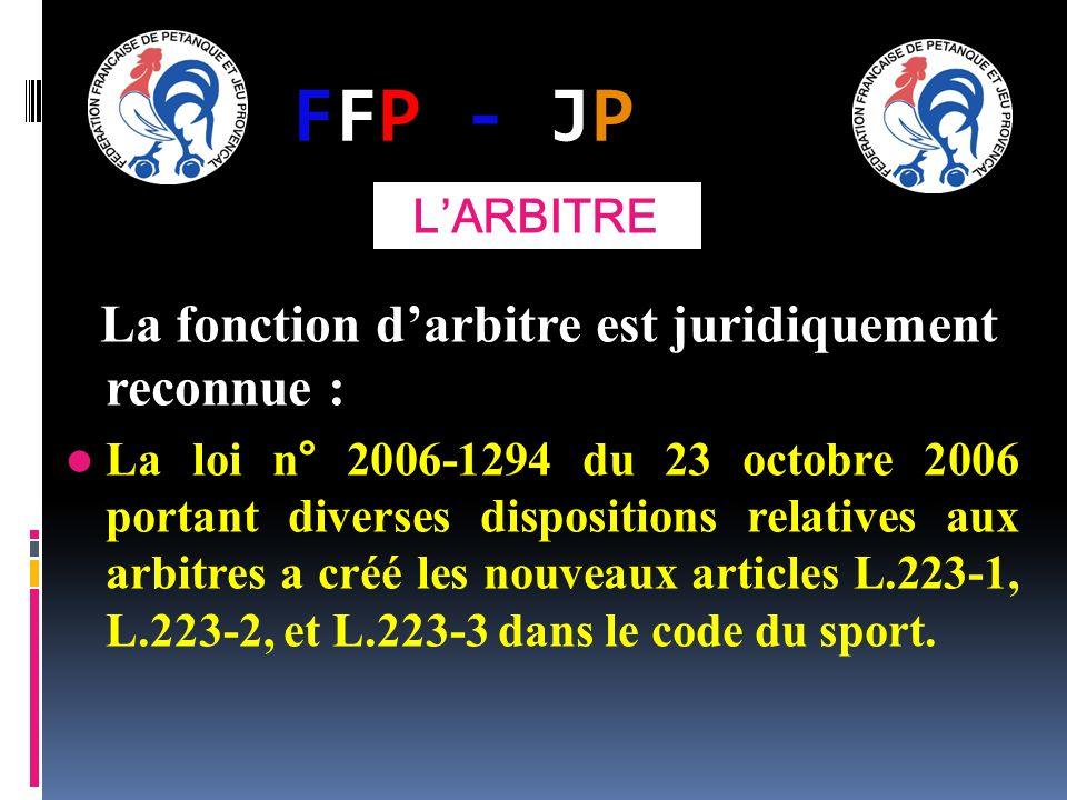 FFP - JPFFP - JP La fonction darbitre est juridiquement reconnue : La loi n° 2006-1294 du 23 octobre 2006 portant diverses dispositions relatives aux