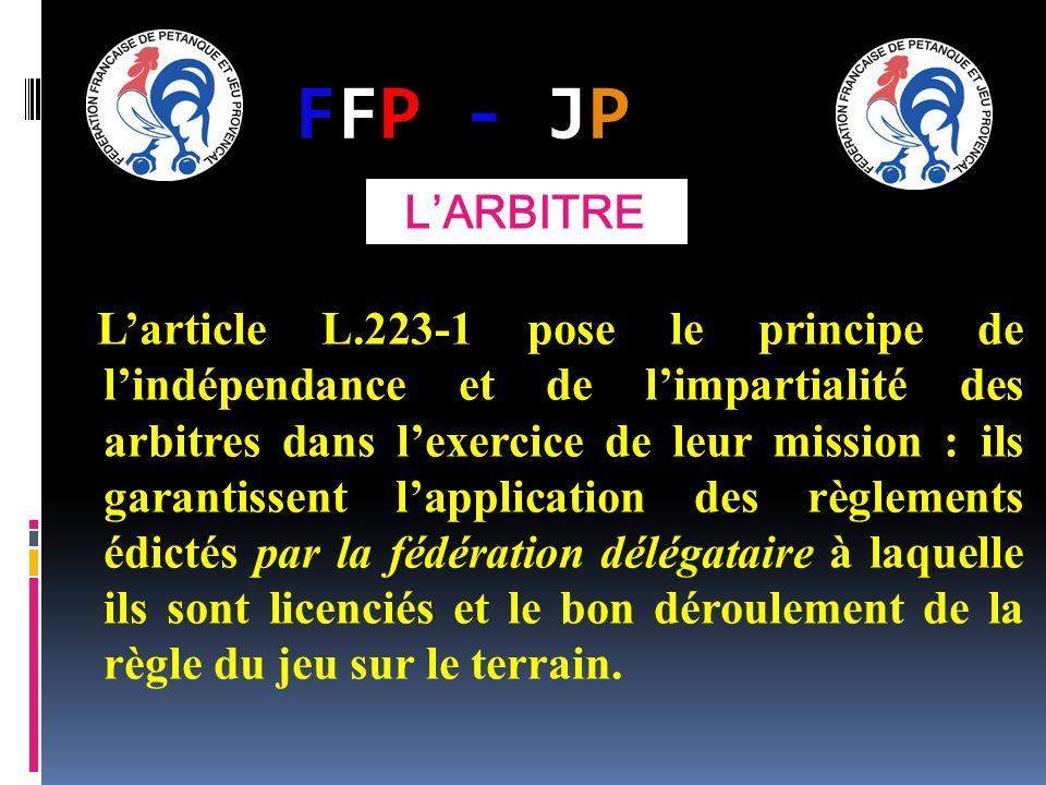 FFP - JPFFP - JP Larticle L.223-1 pose le principe de lindépendance et de limpartialité des arbitres dans lexercice de leur mission : ils garantissent