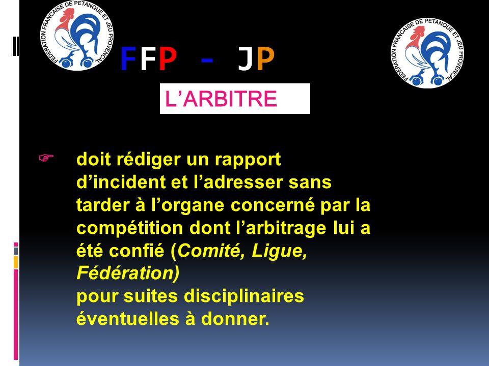 FFP - JPFFP - JP doit rédiger un rapport dincident et ladresser sans tarder à lorgane concerné par la compétition dont larbitrage lui a été confié (Co