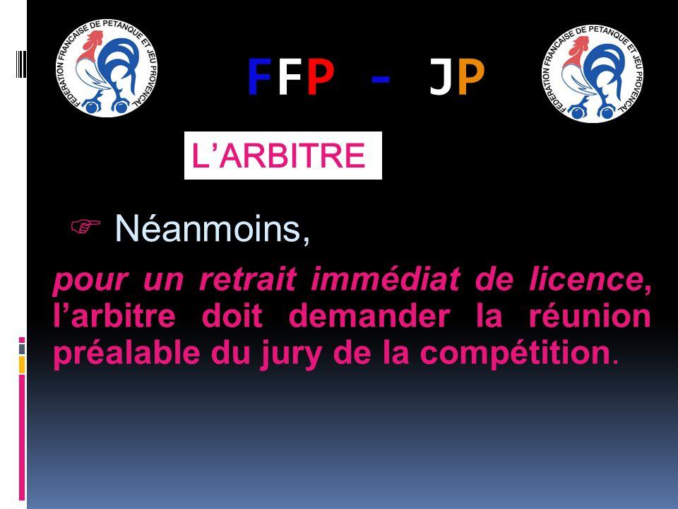 FFP - JPFFP - JP LARBITRE Néanmoins, pour un retrait immédiat de licence, larbitre doit demander la réunion préalable du jury de la compétition.