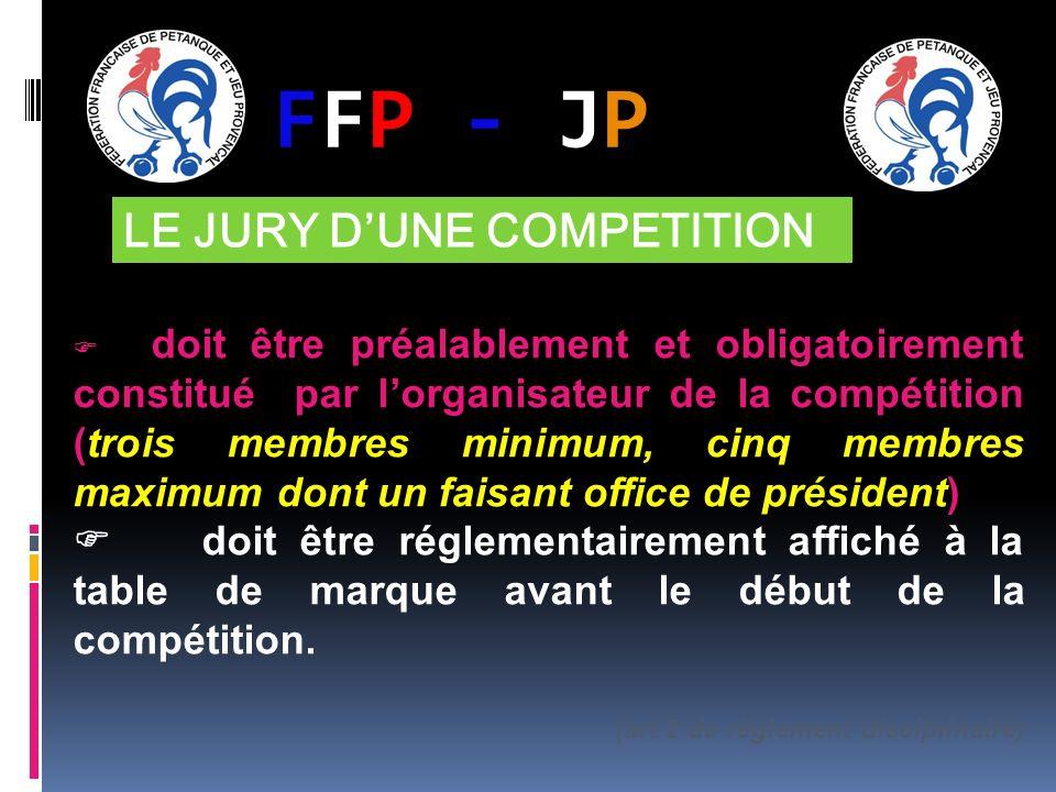 FFP - JPFFP - JP LE JURY DUNE COMPETITION doit être préalablement et obligatoirement constitué par lorganisateur de la compétition (trois membres minimum, cinq membres maximum dont un faisant office de président) doit être réglementairement affiché à la table de marque avant le début de la compétition.