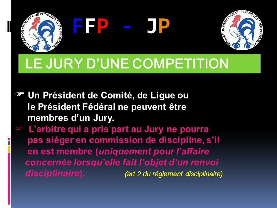FFP - JPFFP - JP LE JURY DUNE COMPETITION Un Président de Comité, de Ligue ou le Président Fédéral ne peuvent être membres dun Jury. Larbitre qui a pr