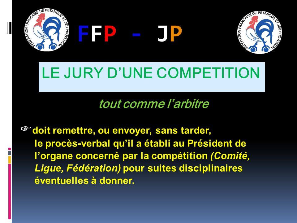 FFP - JPFFP - JP tout comme larbitre doit remettre, ou envoyer, sans tarder, le procès-verbal quil a établi au Président de lorgane concerné par la compétition (Comité, Ligue, Fédération) pour suites disciplinaires éventuelles à donner.