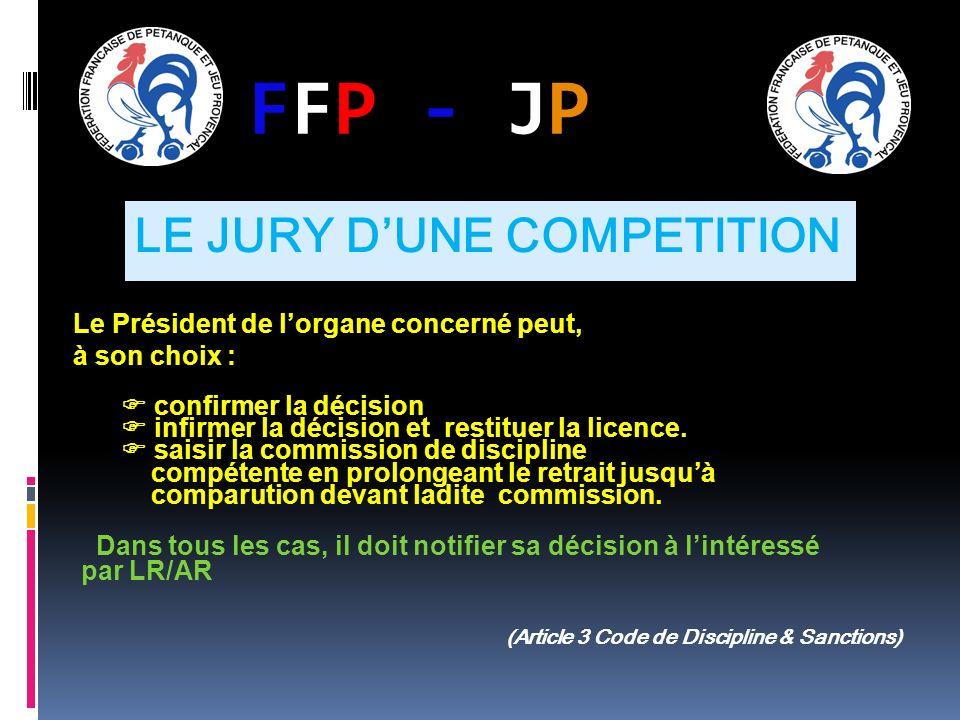 FFP - JPFFP - JP Le Président de lorgane concerné peut, à son choix : confirmer la décision infirmer la décision et restituer la licence. saisir la co