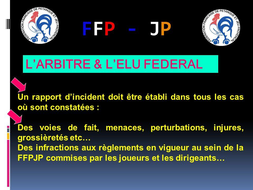 FFP - JPFFP - JP Un rapport dincident doit être établi dans tous les cas où sont constatées : Des voies de fait, menaces, perturbations, injures, grossièretés etc… Des infractions aux règlements en vigueur au sein de la FFPJP commises par les joueurs et les dirigeants… LARBITRE & LELU FEDERAL