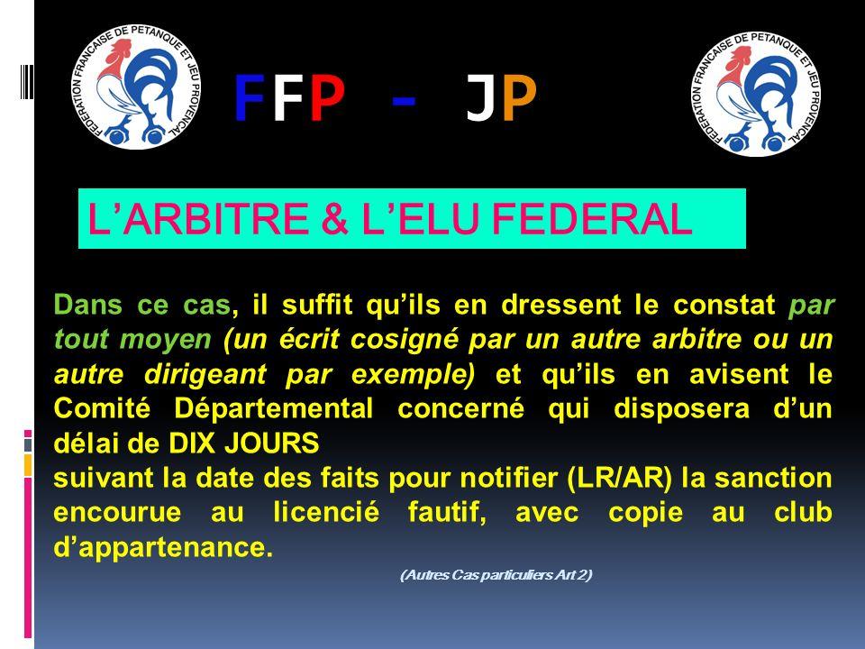 FFP - JPFFP - JP Dans ce cas, il suffit quils en dressent le constat par tout moyen (un écrit cosigné par un autre arbitre ou un autre dirigeant par e