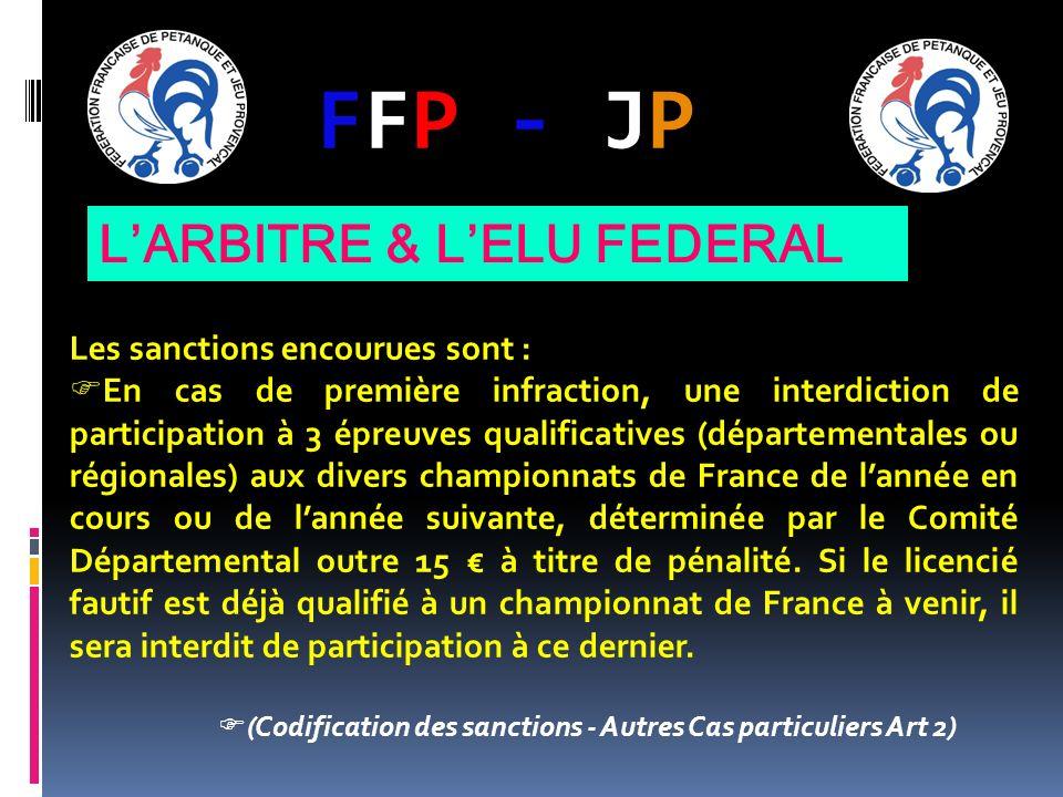 FFP - JPFFP - JP Les sanctions encourues sont : En cas de première infraction, une interdiction de participation à 3 épreuves qualificatives (départementales ou régionales) aux divers championnats de France de lannée en cours ou de lannée suivante, déterminée par le Comité Départemental outre 15 à titre de pénalité.