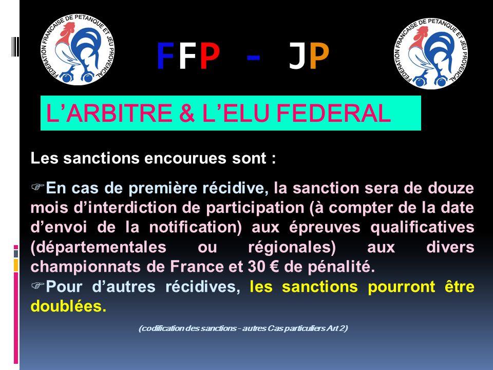 FFP - JPFFP - JP Les sanctions encourues sont : En cas de première récidive, la sanction sera de douze mois dinterdiction de participation (à compter de la date denvoi de la notification) aux épreuves qualificatives (départementales ou régionales) aux divers championnats de France et 30 de pénalité.