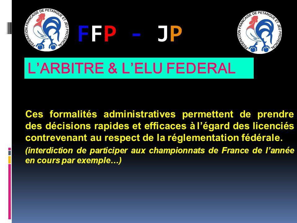 FFP - JPFFP - JP Ces formalités administratives permettent de prendre des décisions rapides et efficaces à légard des licenciés contrevenant au respec