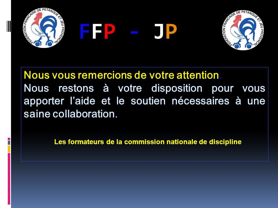 FFP - JPFFP - JP Nous vous remercions de votre attention. Nous restons à votre disposition pour vous apporter laide et le soutien nécessaires à une sa