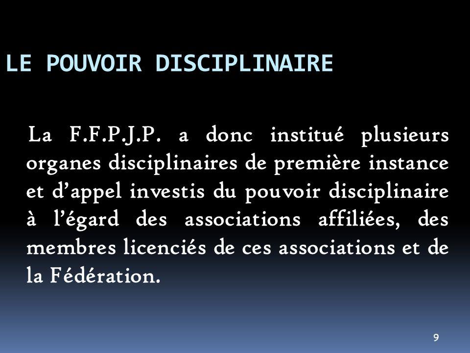10 LE POUVOIR DISCIPLINAIRE Toutefois, dans les enceintes des terrains sportifs et/ou à loccasion des compétitions placées sous légide de la FFPJP, nos textes confèrent le pouvoir disciplinaire à dautres organes fédéraux.