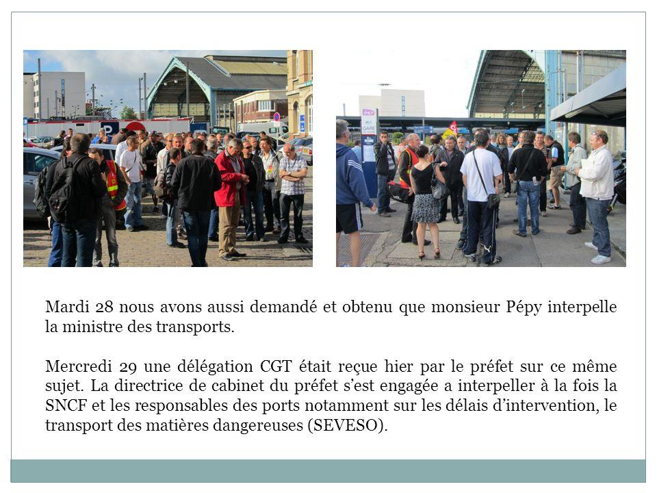 Mardi 28 nous avons aussi demandé et obtenu que monsieur Pépy interpelle la ministre des transports. Mercredi 29 une délégation CGT était reçue hier p