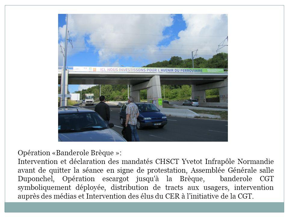 Opération «Banderole Brèque »: Intervention et déclaration des mandatés CHSCT Yvetot Infrapôle Normandie avant de quitter la séance en signe de protes
