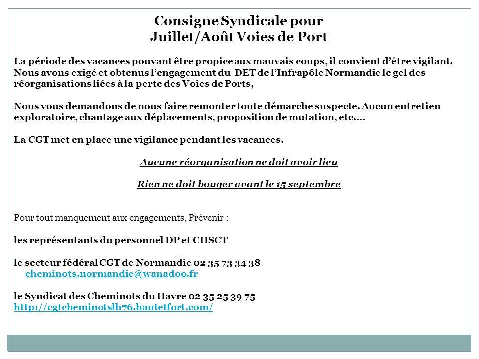 Consigne Syndicale pour Juillet/Août Voies de Port La période des vacances pouvant être propice aux mauvais coups, il convient dêtre vigilant.