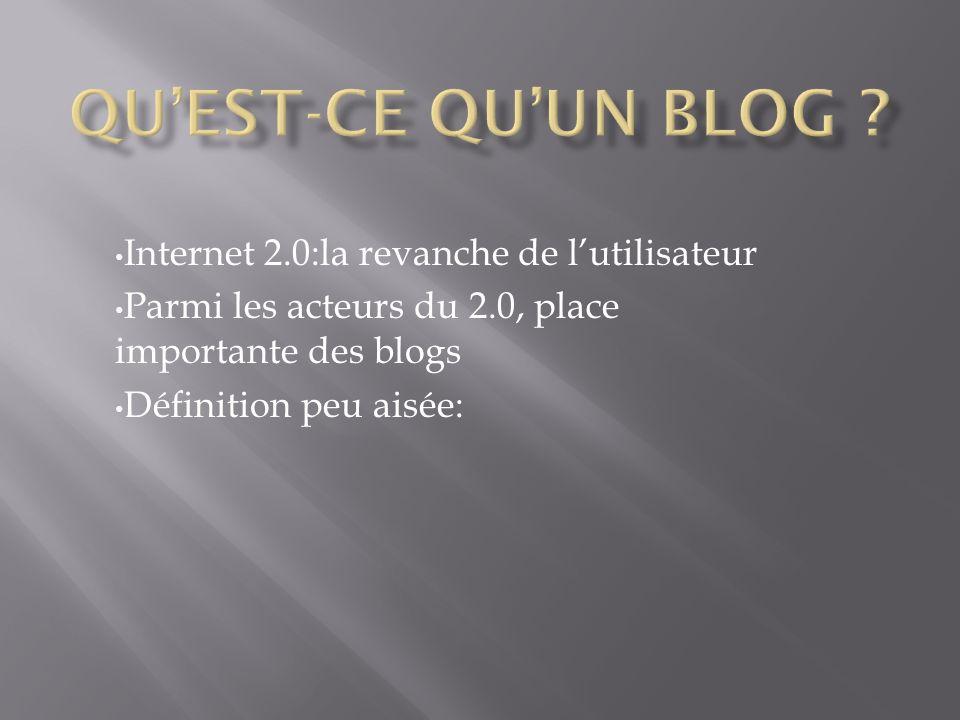 Internet 2.0:la revanche de lutilisateur Parmi les acteurs du 2.0, place importante des blogs Définition peu aisée: