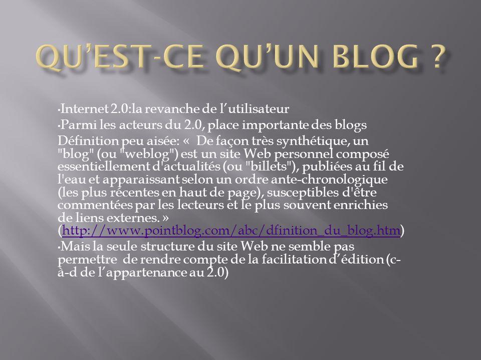 Internet 2.0:la revanche de lutilisateur Parmi les acteurs du 2.0, place importante des blogs Définition peu aisée: « De façon très synthétique, un