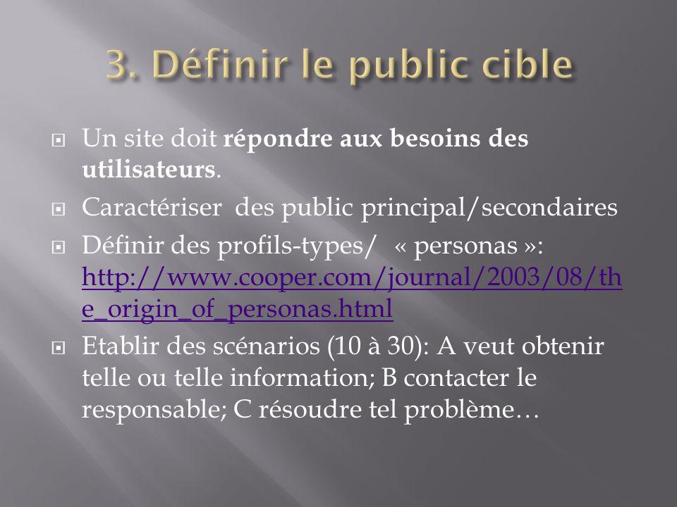 Un site doit répondre aux besoins des utilisateurs. Caractériser des public principal/secondaires Définir des profils-types/ « personas »: http://www.