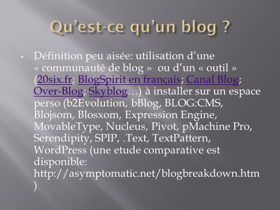 Définition peu aisée: utilisation dune « communauté de blog » ou dun « outil » (20six.fr; BlogSpirit en français; Canal Blog; Over-Blog; Skyblog…) à i